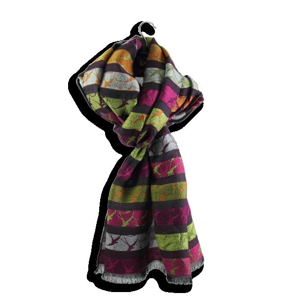 Echarpe-Hirondelle-laine-merinos-soie-coton-fabrique-en-france-rose-vert