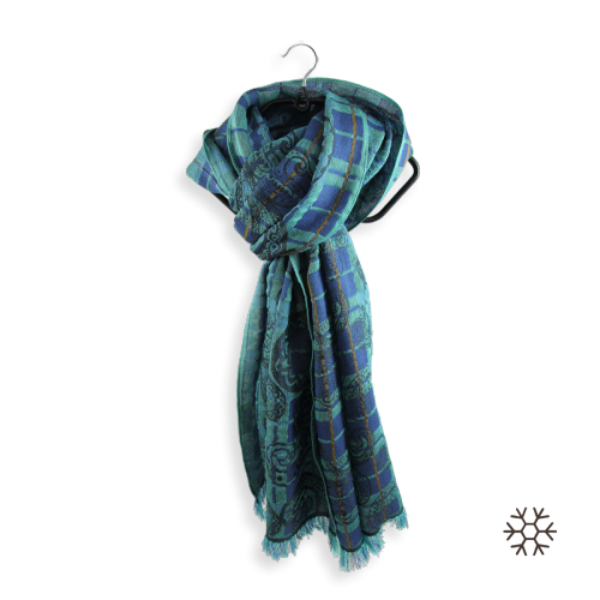 Echarpe-femme-virtuose-laine-soie-turquoise