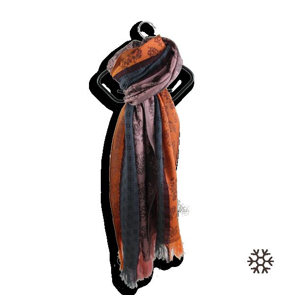 echarpe-femme-idylle-laine-merinos-modal-orange-gris-3A