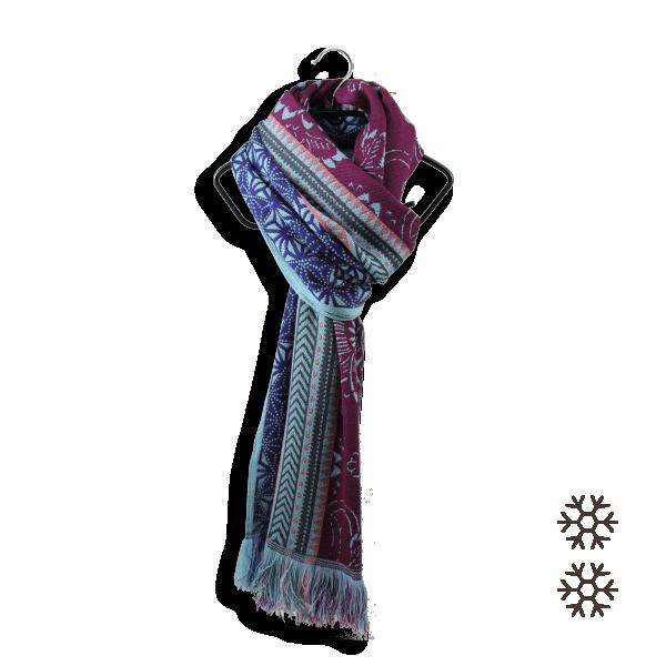 Echarpe-femme-laine-merinos-modal-bleu-prune-Lisbonne-1A