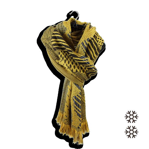 Echarpe-femme-laine-merinos-modal-jaune-doré-nebuleuse-5A