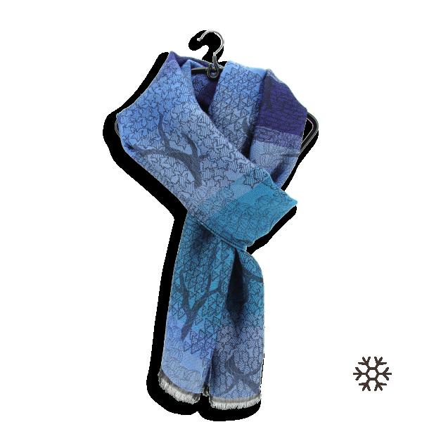 écharpe-femme-laine-mérinos-modal-bleue-turquoise-Olivier