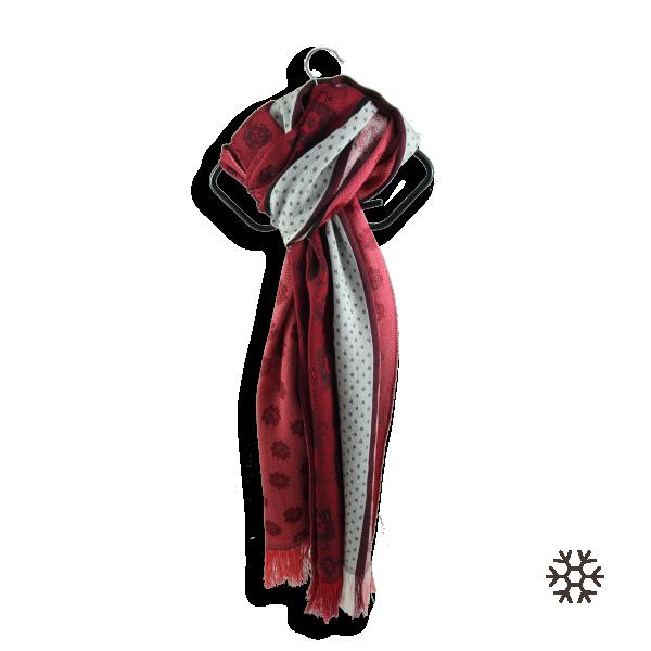 Echarpe-femme-venus-laine-modal-rouge-blanc-3A