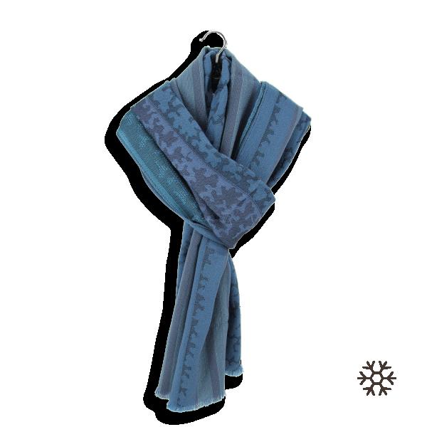 Echarpe-femme-bleu-laine-soie-Arborescence-fabrique-en-France