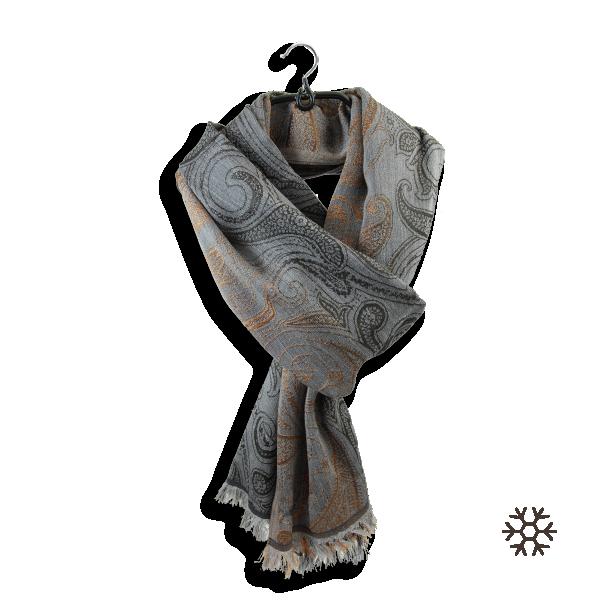 Echarpe-femme-laine-mérinos-soie-gris-or-Mélodie