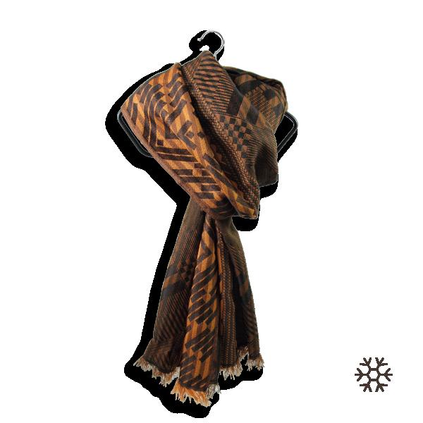 Echarpe-homme-geometrique-ride-laine-soie-marron-cuir-1A