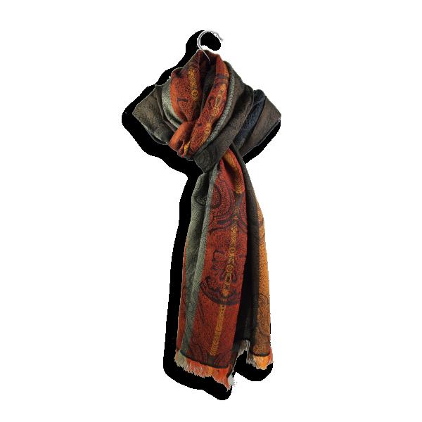 Echarpe Victoria laine merinos soie fabrique en france rouille marron