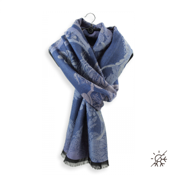 écharpe-femme-coton-laine-bleu-jean-Renaissance