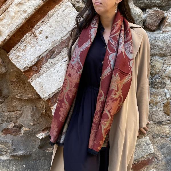 écharpe-femme-coton-laine-roux-Renaissance