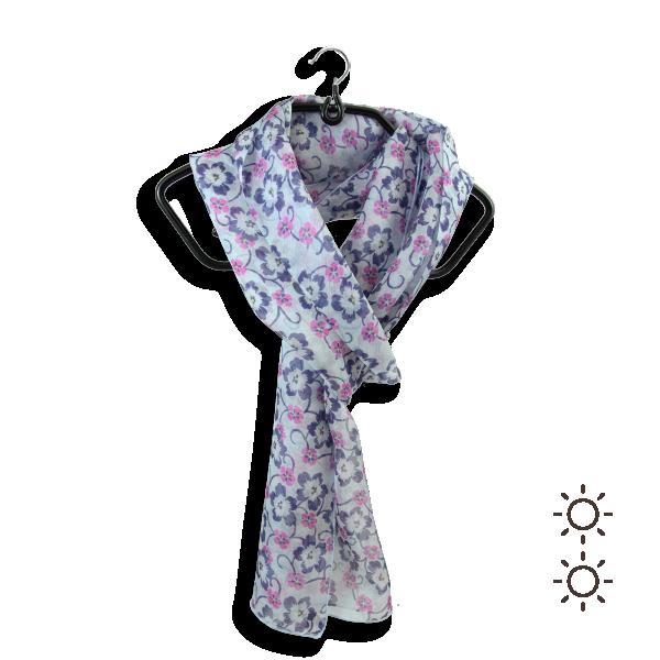 Foulard-femme-soie-bleu-ciel-imprimé-fleur-fabrique-en-France