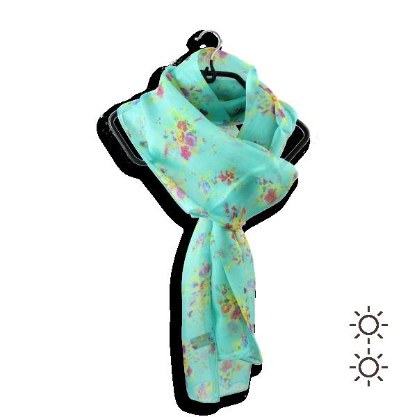 Echarpe-femme-soie-imprimée-vert-turquoise-Bouquet-1A