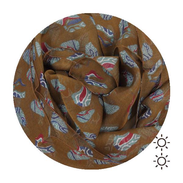 Foulard-soie-femme-daim-marron-imprimee-petites-empreintes-fabriqué-en-France