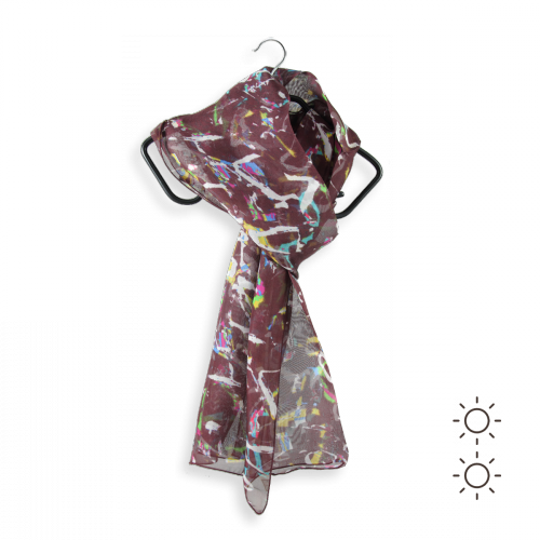 Foulard-soie-femme-imprimée-graff-marron-cuir-multicolore-4A