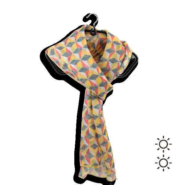 Foulard-femme-soie-jaune-imprimé-arlequin-fabrication-française