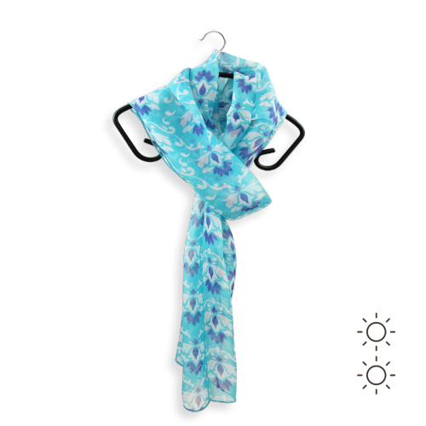 Echarpe-femme-soie-imprimée-bleue-Ornement-3A