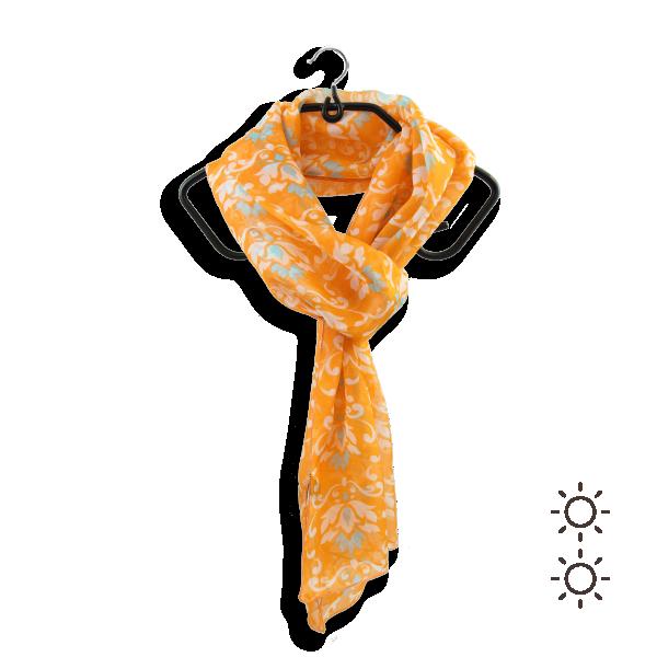 Echarpe-femme-soie-imprimée-orange-Ornement-1A