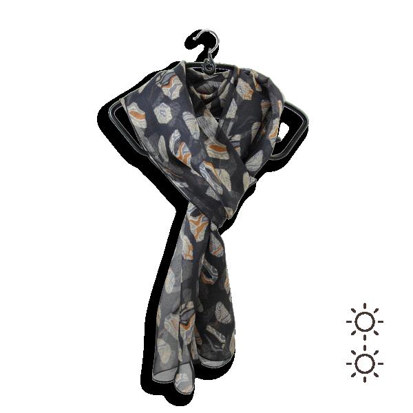 Foulard-soie-femme-noir-imprimee-petites-empreintes-fabriqué-en-France