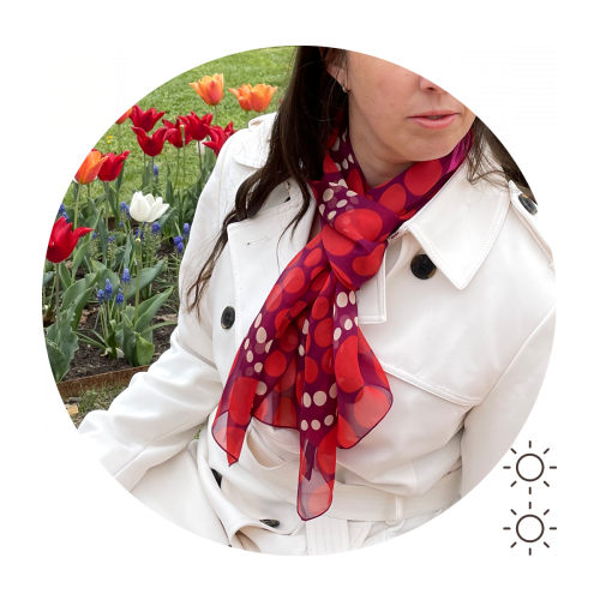 Foulard-soie-femme-imprimée-pois-rouge-A