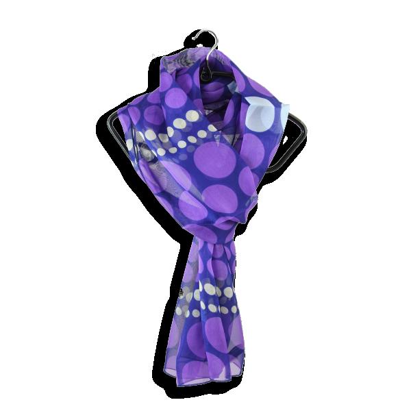 Foulard-soie-femme-imprimée-pois-violet-A