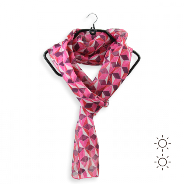 Foulard-femme-soie-rose-imprimé-arlequin-fabrication-française