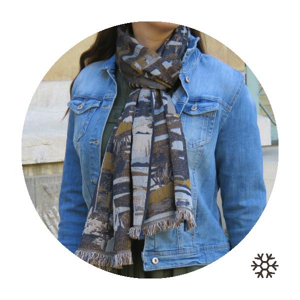 Echarpe-femme-laine-coton-soie-marine-ocre-Oslo-4A
