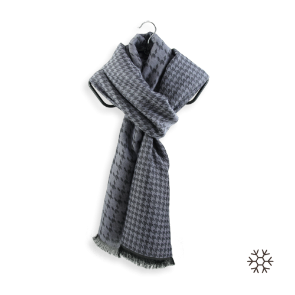 Echarpe pied de coq cachemire soie coton fabrique en france gris
