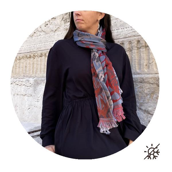 Etole-femme-coton-soie-fabrication-française-bleu-jean-rouge-Savane