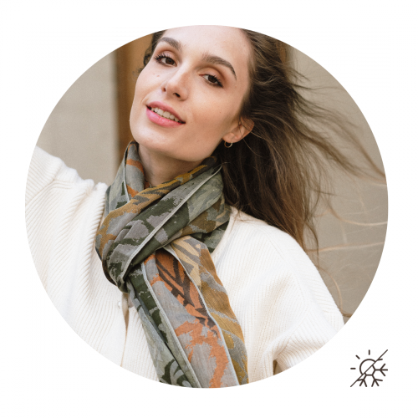 Etole-femme-coton-soie-fabrication-française-ocre-kaki-Savane