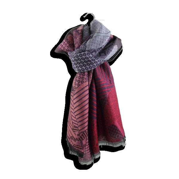 Etole-femme-amour-laine-soie-rose-violet