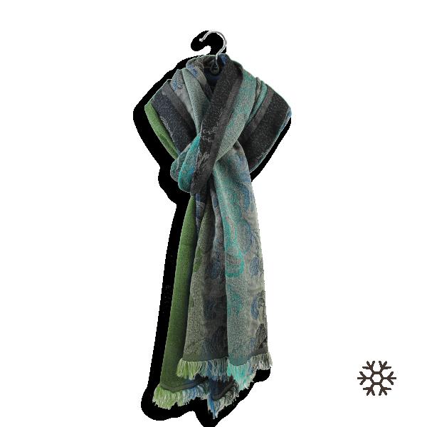 Echarpe-femme-laine-coton-soie-vert-bleu-Damassé