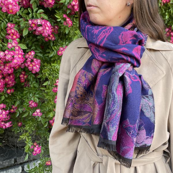 Etole-femme-laine-coton-soie-violet-rose-botanic-2A