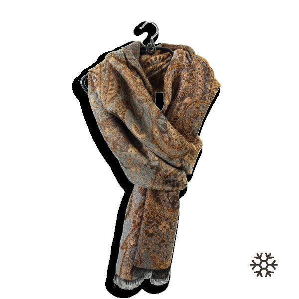 Etole-femme-laine-coton-soie-gris-cuivre-Paisley