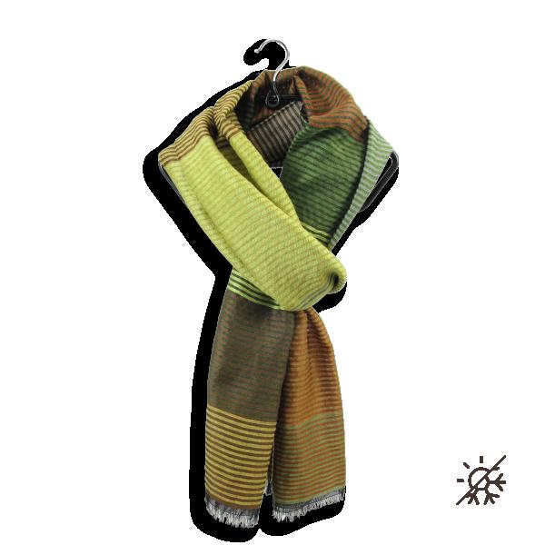 Etole-laine-soie-coton-vert-kaki-or-Kaleida