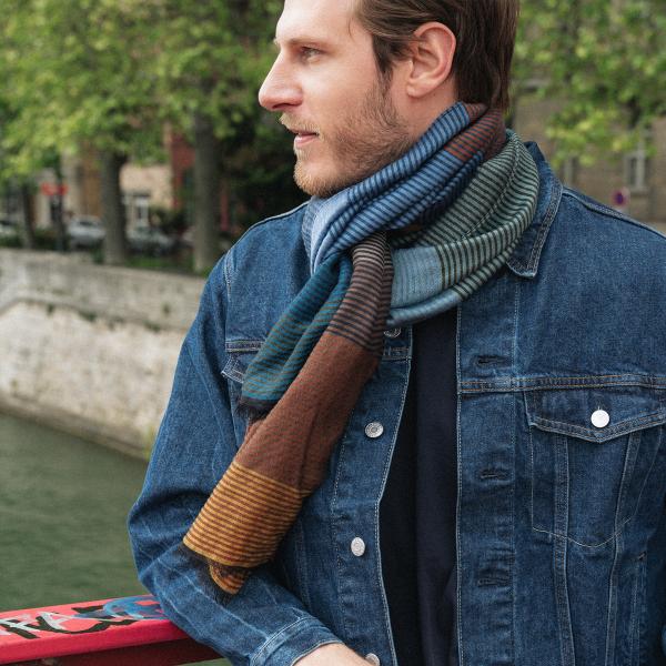 Etole-femme-kaleida-laine-coton-soie-bleu-canard-marron-22A