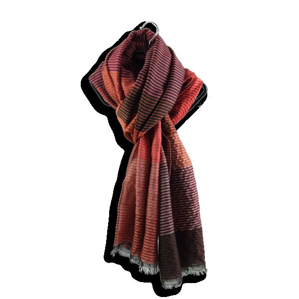 Etole-femme-kaleida-laine-soie-coton-orange-rouille