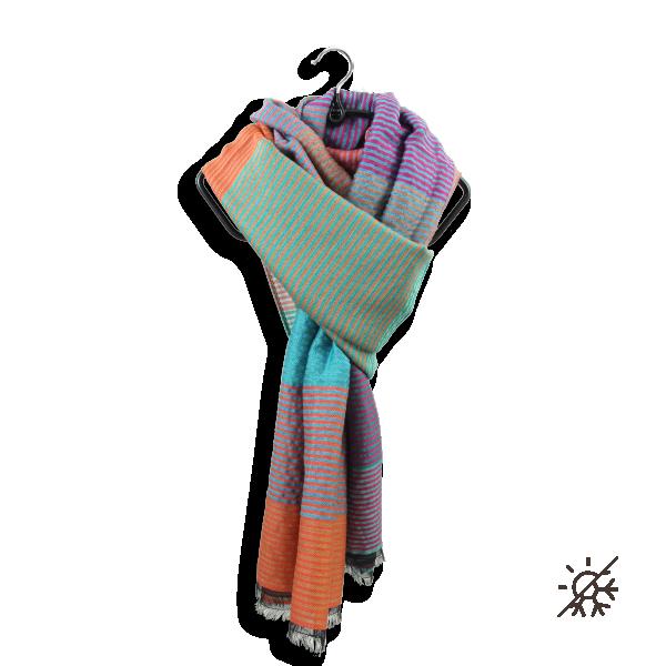 Etole-laine-merinos-coton-soie-orange-turquoise-kaleida