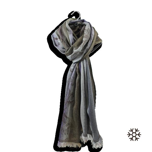 Echarpe-femme-laine-coton-soie-parme-marron-Damassé