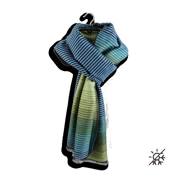 Etole-laine-merinos-coton-soie-polaris-bleu-vert-fabriqué-en-france