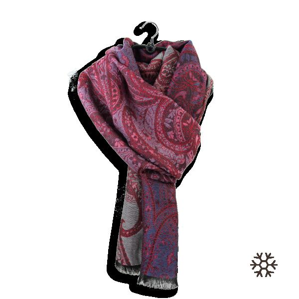Etole-femme-laine-coton-soie-rouge-Paisley
