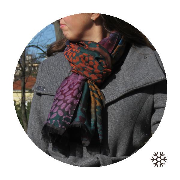 Etole-femme-Varsani-laine-coton-soie-rouge-petrole-1A
