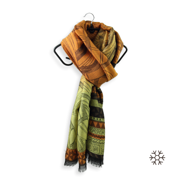 Echarpe-femme-caprice-Laine-soie-jaune-orange-2A
