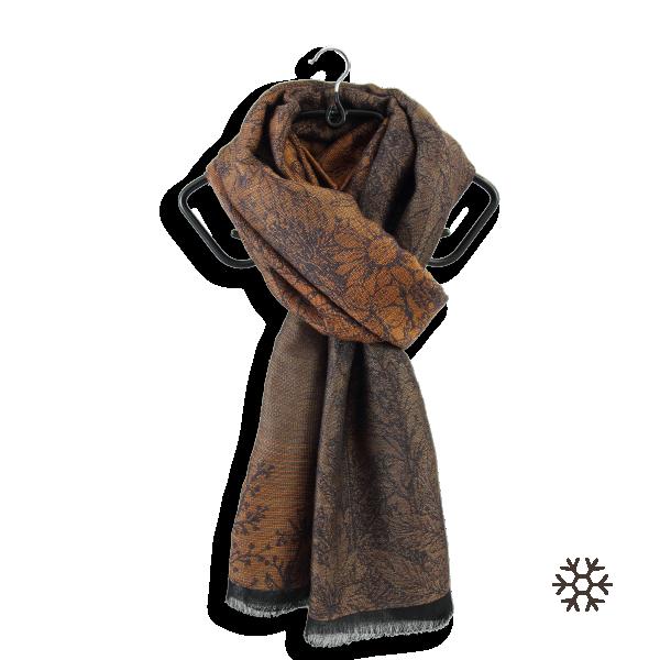 Etole-femme-laine-coton-soie-marron-dore-Secret-4A