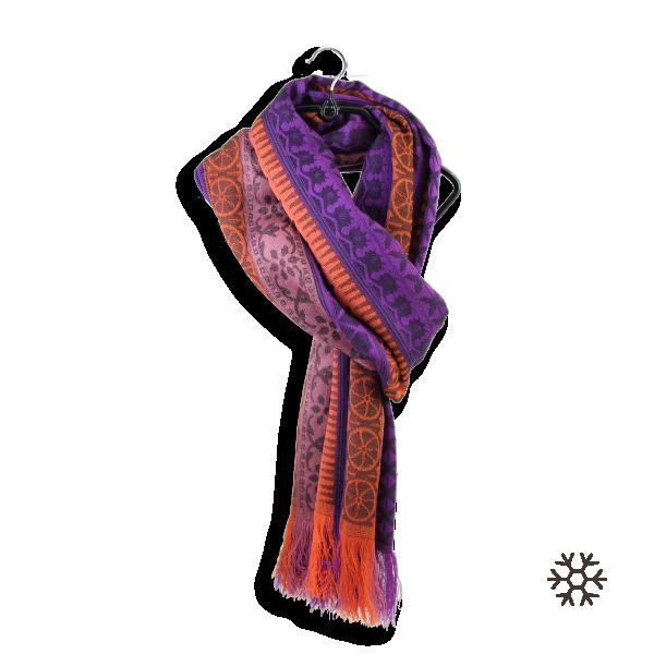 Echarpe-femme-laine-merinos-modal-violet-orange-Precieux-4A