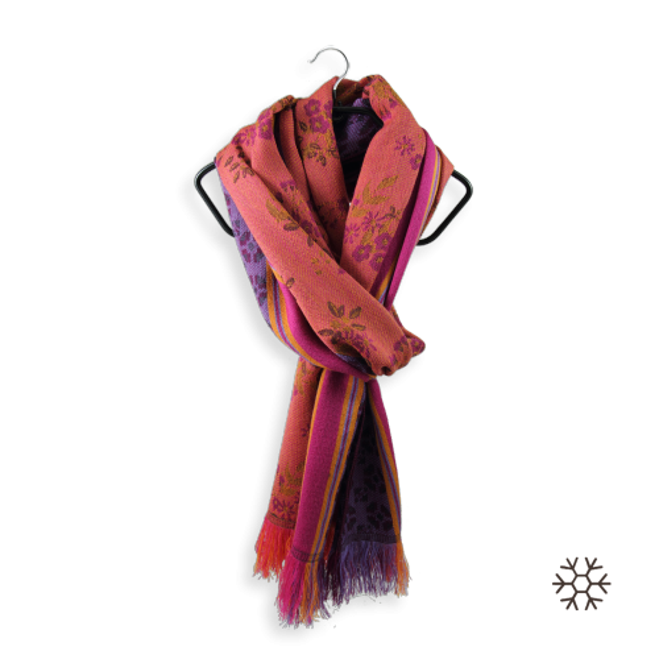 Echarpe-femme-Rovaniemi-laine-modal-violet-orange-1A