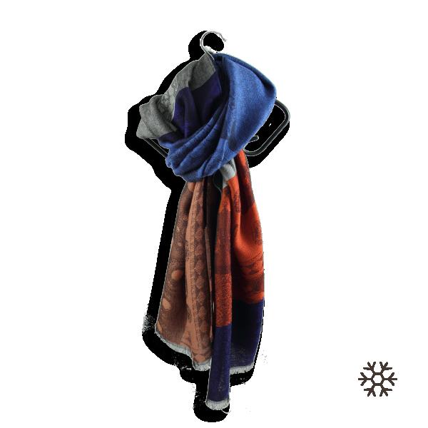 Echarpe-femme-laine-merinos-bleu-orange-valentin-2A