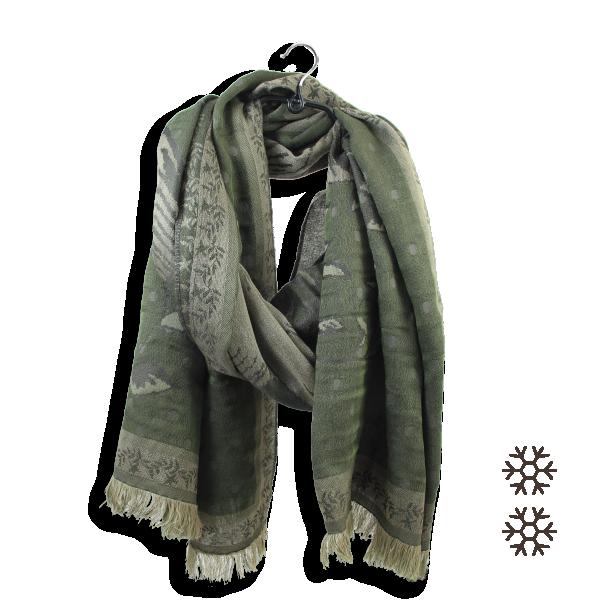 Maxi-étole-femme-laine-coton-soie-vert-kaki-beige-Floral