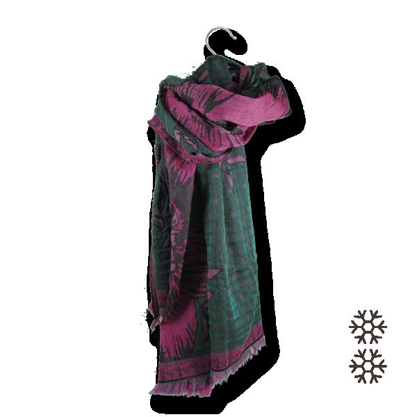 Etole-Maxi-Florale-laine-merinos-coton-soie-fabrique-en-france-rose-vert
