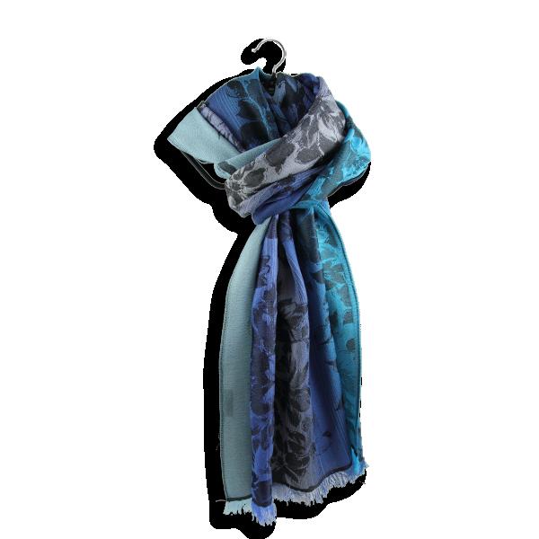 Etole-femme-romantique-laine-soie-bleu