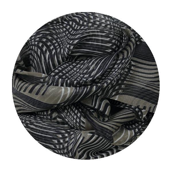 Foulard-femme-optical-soie-noir-beige-4A