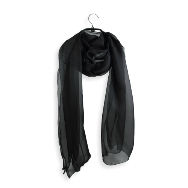 Etole mousseline soie unie fabrique en france noir